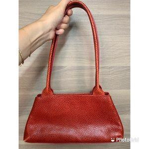 Furla Vintage Red Pebbled Leather Shoulder Bag